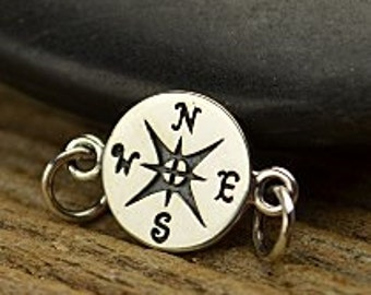 Compass Link - Sterling Silver, End of Year Sale, Ocean, Navy, Nautical, Links, Connectors, Sideways Charms