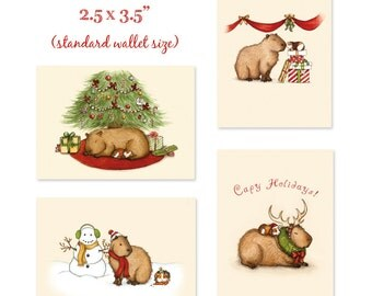 Capy Holidays 4 mini-print ACEO set - Stocking Stuffers from When Guinea Pigs Fly