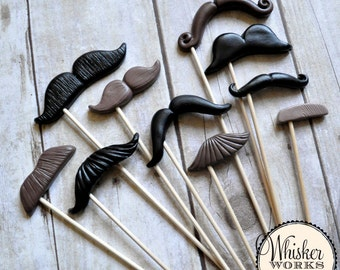 Plastic Mustaches on Sticks - The Twilight Affair - Set of 10