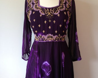 Unique Indian Inspired Rich Purple And Gold Psychedelic Hippie Boho Dress With Matching Scarf