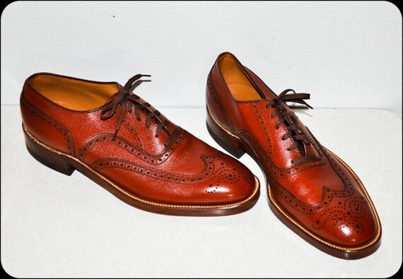 A M A Z I N G 1950s Brown Designer EDWIN CLAPP Mens Oxford Shoes