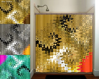 Cities of gold blue yellow brown shower curtain bathroom decor for Red and gold bathroom accessories