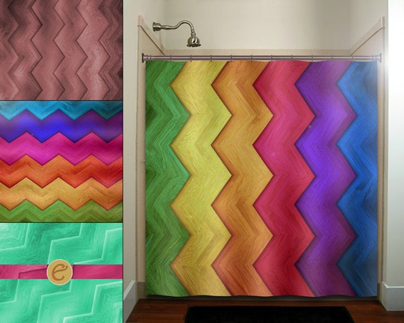 Rainbow Wood Grain Multi Color Chevron Shower By TablishedWorks