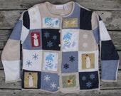 Goofy Ugly Christmas Sweater w Embroidered n Appliqued Designs