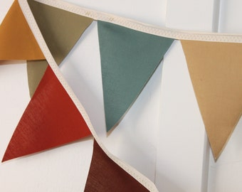 Fabric Wedding Bunting - Jewel Tones - rust - green - blue - olive green - brown - gold