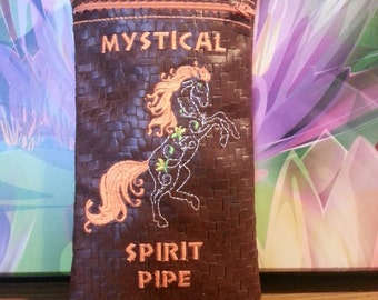 Custom Leather Pipe Pouch. Mystical spirit pipe.