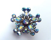 Vintage 50s Star Brooch with Sparkling AB Rhinestones - on sale