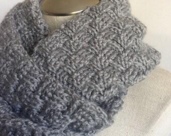 Handmade crochet infinity scarf women  heather grey - mobius twist women handmade scarf - crochet grey women scarf