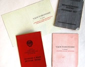 Set of 4 USSR ID Documents - Veteran of Labour Medal Paper - Workers Union Card - Socialist Competition Document - from Russia Soviet Union