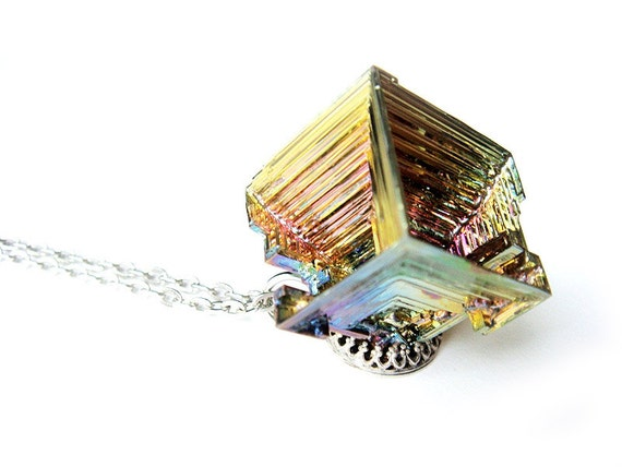 One of a Kind Geometric Bismuth Necklace