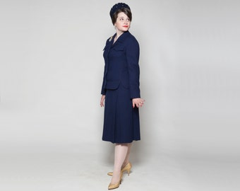 Vintage 1960s Skirt Suit - Nordstrom Best Navy Blue - Fall Fashions 1970s