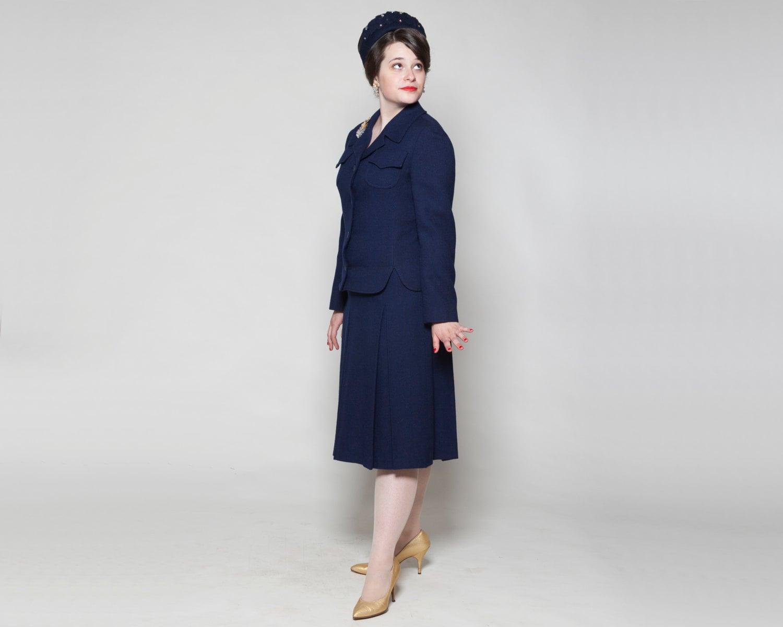 Vintage 1960s Skirt Suit Nordstrom Best Navy Blue by AlexSandras