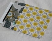 NEW ITEM - iPad Cover/ iPad Sleeve/ iPad Case Padded with button closure - Mustard Yellow and Grey Bold Floral