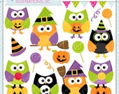 Halloween Hoot Cute Digital Clipart - Commercial Use OK - Halloween Owl Graphics, Halloween Clipart, Halloween Graphics, Owl Clipart