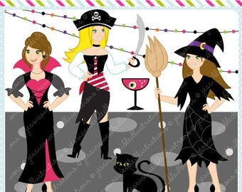 Women Halloween Dress-Up Graphics, Female Halloween Characters, Costumes, Adult Halloween Party, Commercial USE OK, Halloween Clipart
