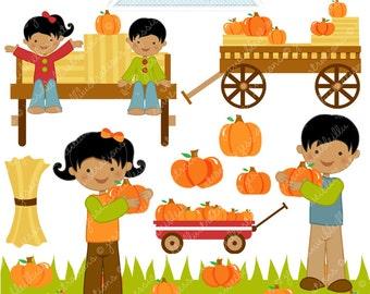 Picking Pumpkins V2 Cute Digital Clipart - Commercial Use OK - Hayride Graphics, Pumpkin Clipart, Autumn Graphics, Pumpkin Patch