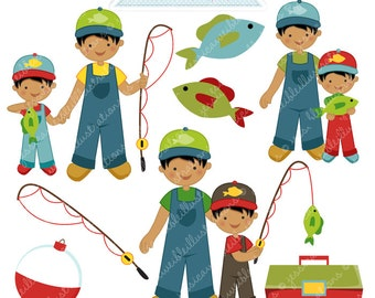 Fishin Buddy Boy V2 Cute Digital Clipart - Commercial Use OK - Fishing Clipart, Fishing Graphics, Fish Clipart