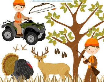 Hunting Season Cute Digital Clipart - Commercial Use OK - Little Hunting Boy, ATV 4 Wheeler, Hunting Graphics, Hunting Clipart, Deer, Turkey