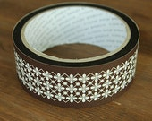 Brown Flower Ornament Adhesive Tape (1.4in)