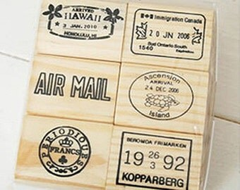 6 Set - Journey World Postmark Stamps D (3.3 x 3.8in)