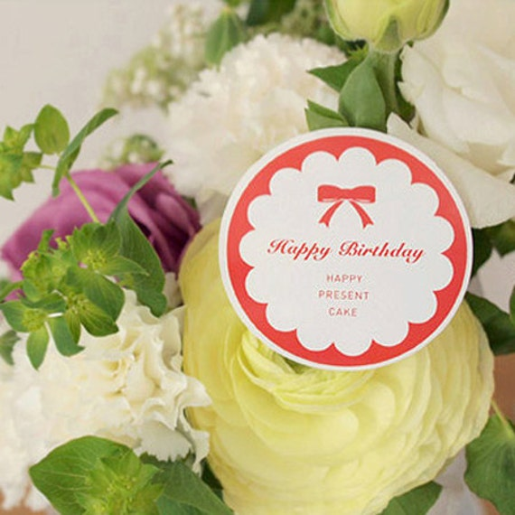 4 Lovely Label Stickers - Happy Ribbon (2 x 2in)