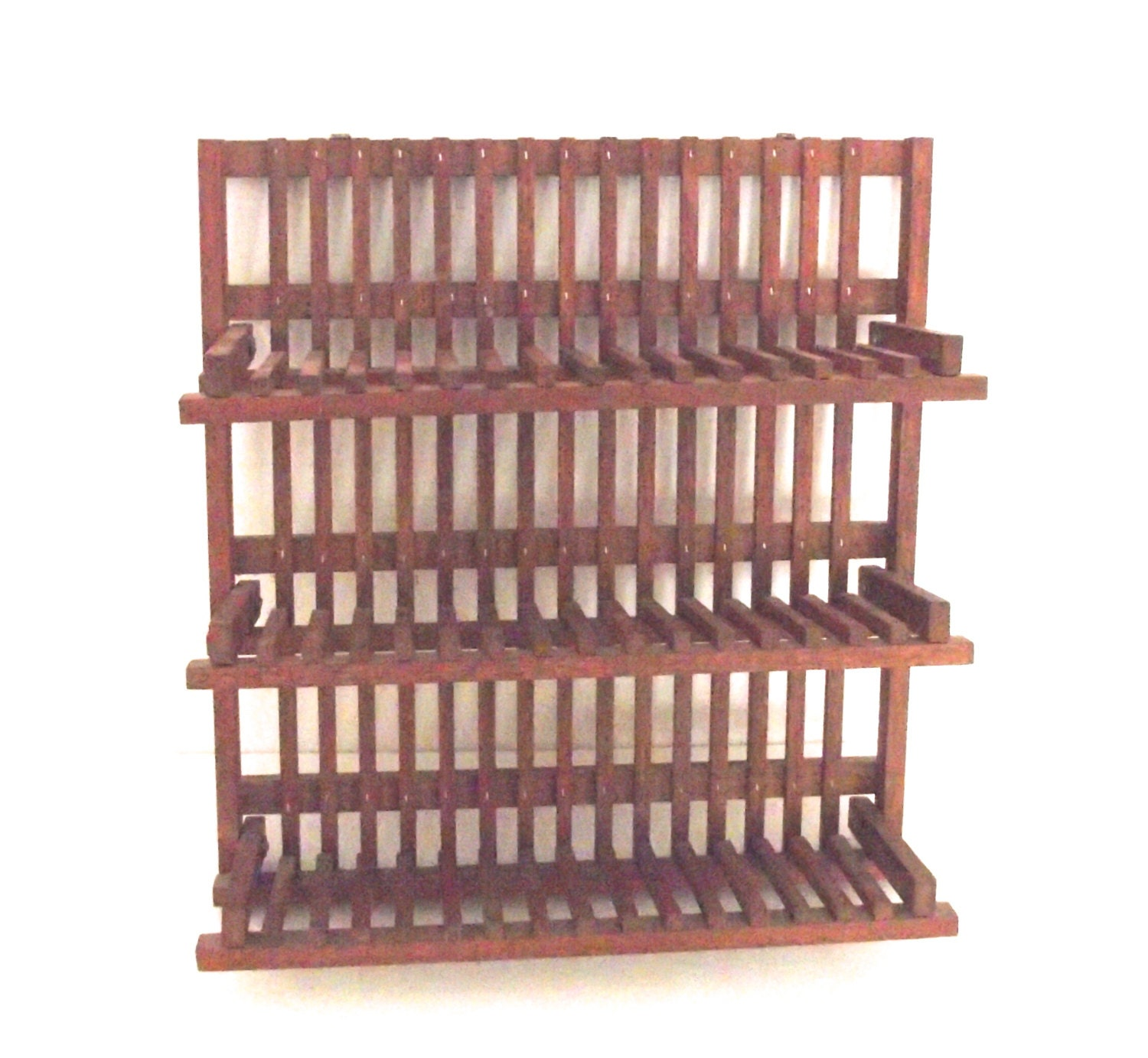 Vintage Wooden Wall Shelf Plate Rack With Fold Up Shelves