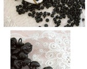 RESERVED for Linda Antique Old Store Stock Black Shoe Buttons for Shoes or Teddy Bear Eyes