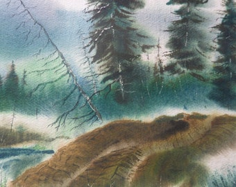 ORIGINAL VINTAGE Watercolor BY Vern Mauk