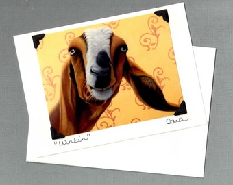 Goat Card - Funny Animal Card - Postcard Greeting Card Combination - 10% Benefits Animal Rescue