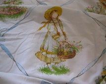 Holly Hobbie Vintage Twin Sheet Set, Fitted, Flat, 1976, American Greetings