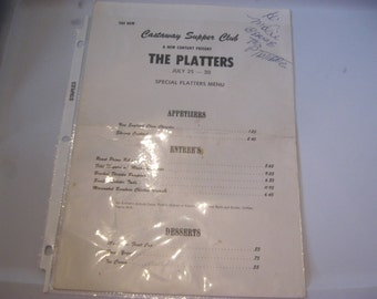 The Platters, Castaway Supper Club Menu, Signed