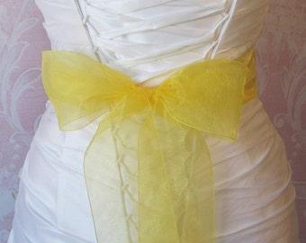 Yellow Organza Ribbon, 2.75 Inch Wde, Bright Yellow Ribbon Sash, Lemon, Sunny Yellow Bridal Sash, Wedding Belt, 4 Yards