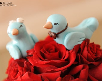 Bird Cake Topper Birds - Custom Choice of Colors - Fully Custom Made - Aqua and Brown
