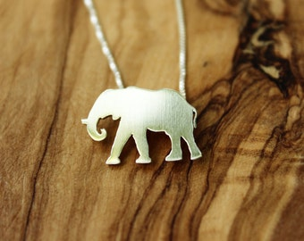 Elephant necklace, sterling silver hand cut pendant, nature and animal jewelry