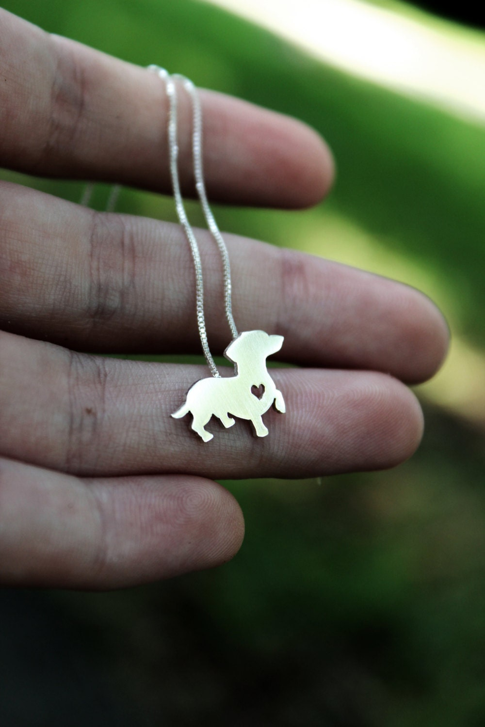 Dachshund Necklace Sterling Silver Hand Cut By Justplainsimple