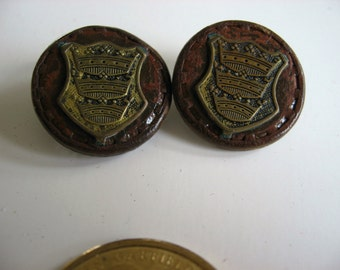 Leather and Metal Buttons -2. 7/8 inch shank style. 3 metal crowns on leather base.