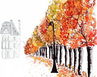 Watercolour fashion illustration Titled Paris in Fall