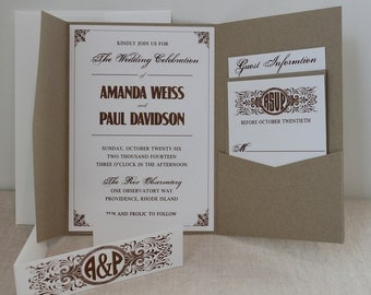 Old World Pocket Wedding Invitation