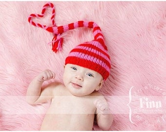 Valentines Day Red and Pink Stocking Hat, Ready To Ship, White Knitted Newborn Elf Baby Cap, Knit Infant Photo Prop, 0-3 mo. Pixie, RTS
