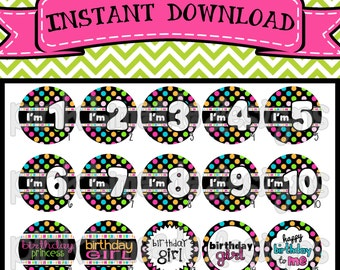 """Birthday Girl Version 2 - Birthday Sayings with Ages - INSTANT DOWNLOAD 1"""" Bottle Cap Images 4x6 - 131"""