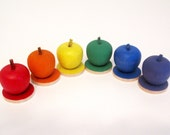 Rainbow Wooden  Apples and Circles Set - Montessori Waldorf Counting and Sorting