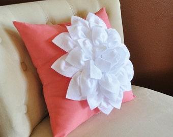 16 x 16 White Dahlia Flower on Coral Pink Pillow Accent Pillow Throw Pillow Toss Pillow