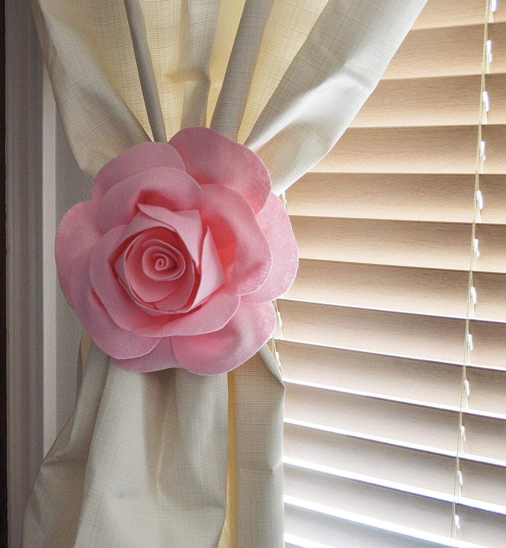 One Rose Flower Curtain Tie Backs Curtain Tiebacks By Bedbuggs