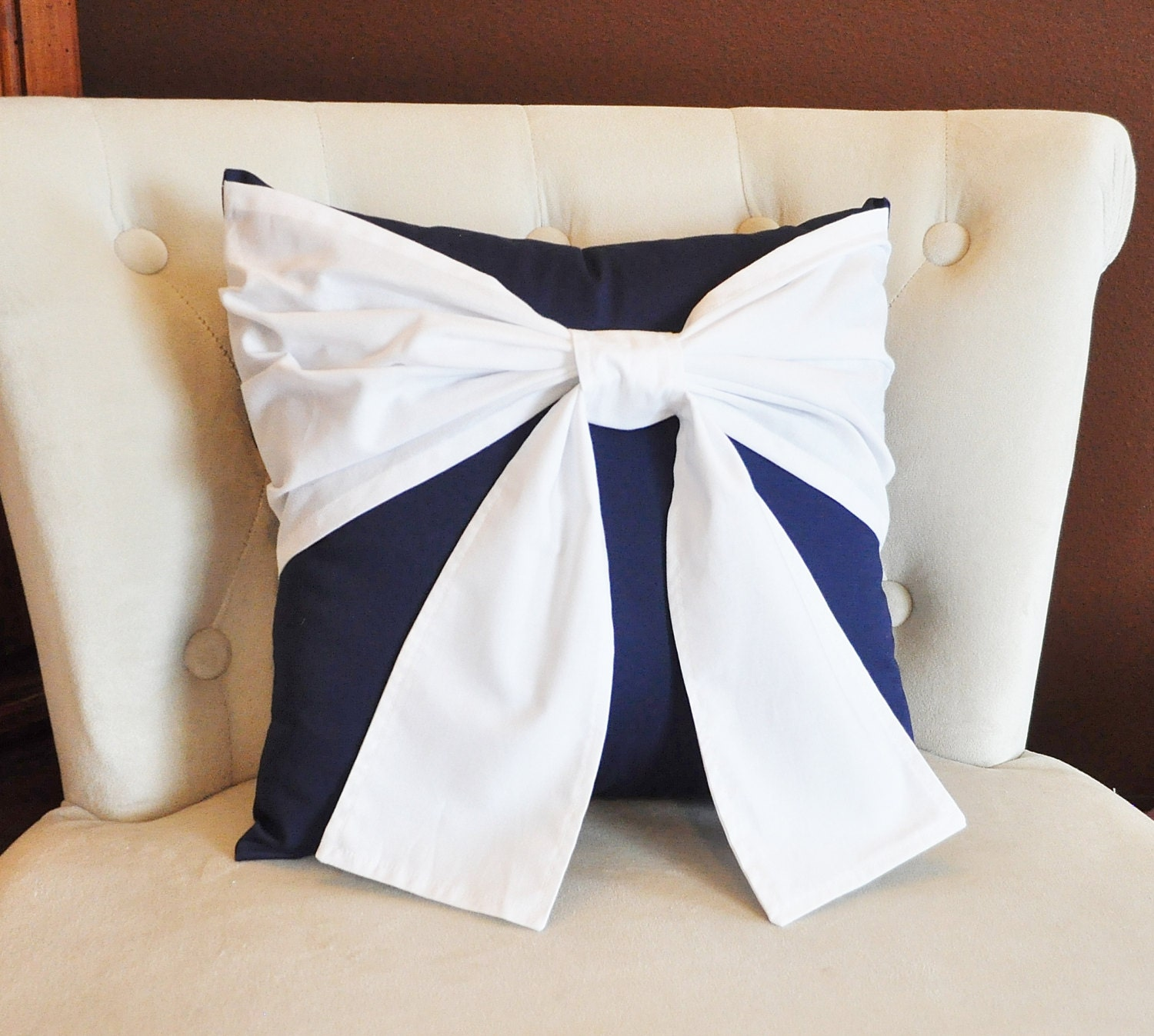 Throw Pillow White Bow on Navy Pillow 14x14 Navy and White