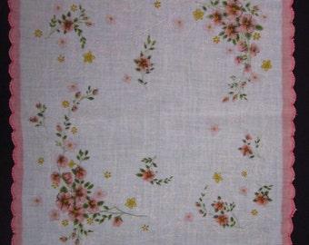Vintage Handkerchief Floral Pink (vh4)