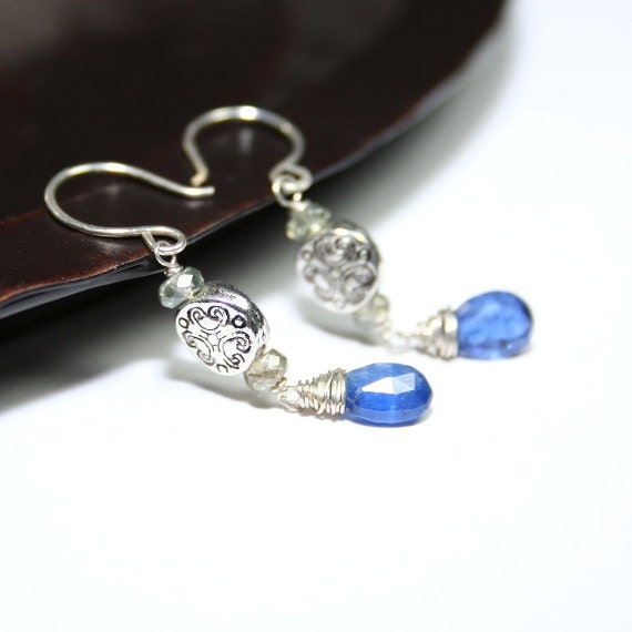 Kyanite Zircon Sterling Silver Dangle Earrings