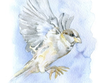 Sparrow Watercolor Painting Bird Giclee Print 8x10 / 8.5x11