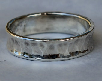 Hand Wrought Concave Men's Wedding  Band in .935 Argentium Silver Made to Order Free Shipping