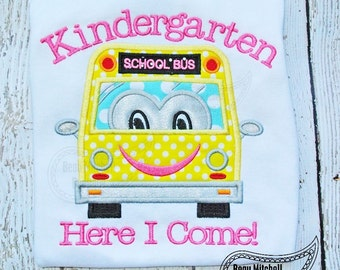 Kindergarten here I come with a School Bus Applique Embroidery Design