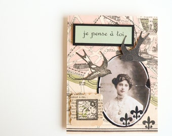 Handmade Card - Je Pense a Toi  -  Vintage Portrait Parisian Map Art Nouveau Greeting Card - Thinking of You - French